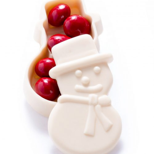Chocolate Snowman Box filled with Foiled Chocolate Ornaments