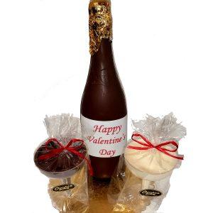 Edible Chocolate Valentine Champagne Bottle & Glasses