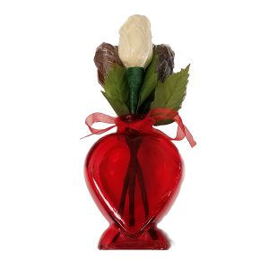 Valentine Gift Vase With Solid Chocolate Roses