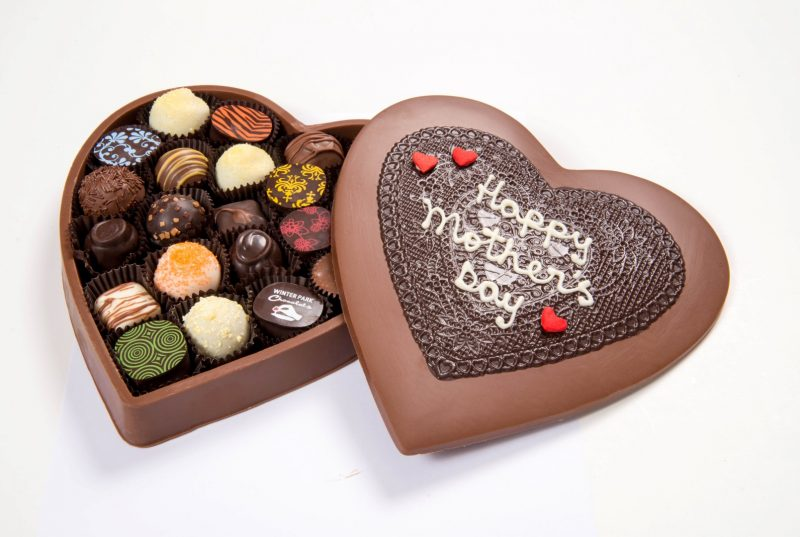 Mothers Day Edible Heart Shaped Chocolate Assorted Truffle Gift Box - Large